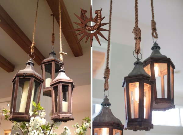 Lucky Old Sun Ranch Lantern And Rope Chandelier